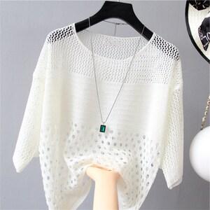 2021夏装新款女装韩版宽松低圆领薄款镂空针织防晒大码罩衫上衣秋