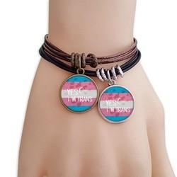 我是变性人旗帜支持LGBT黑棕手链对饰品情侣礼物礼品
