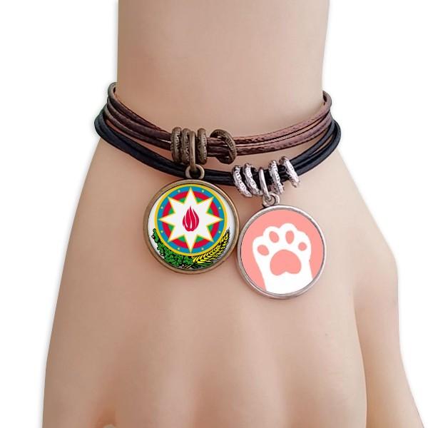 National emblem of Baku, Azerbaijan black brown Bracelet pair jewelry cat gift