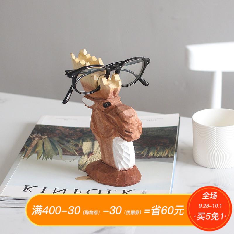 南十字星 创意手工雕刻木质礼品装饰摆件动物眼镜架 斑马长颈鹿