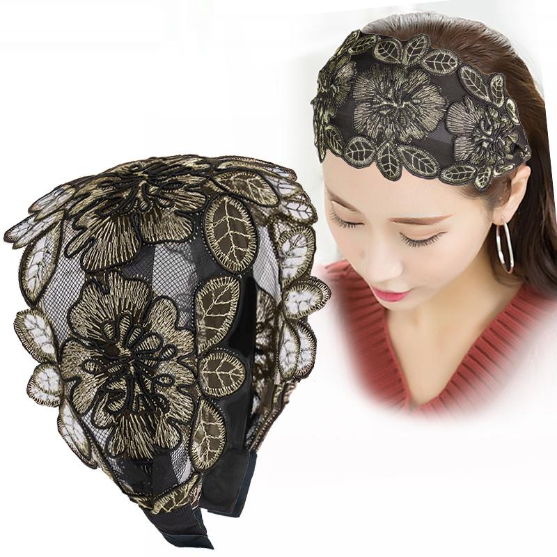 韩国宽边发箍遮白发发箍民族风刺绣头箍蕾丝显脸小的发卡发饰头饰