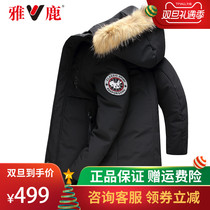 Ya deer Duvet Male Tide medium 2018 new white duck thickened raccoon hair collar business hooded jacket W