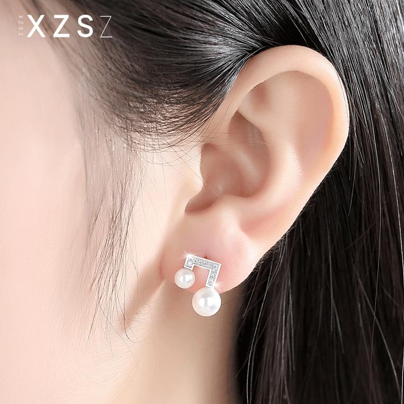 Stars same S925 Silver Freshwater Pearl note Earrings womens simple fashion earrings Japanese and Korean Style Silver Earrings
