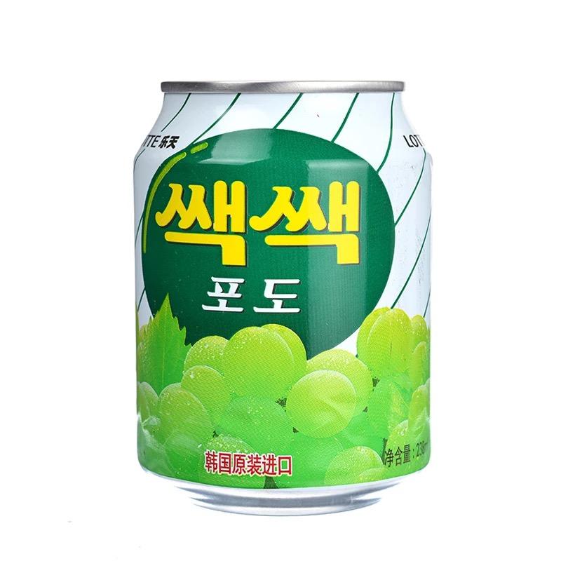 韓國 正品樂天粒粒葡萄汁果味飲料果汁238ml^~12罐 箱