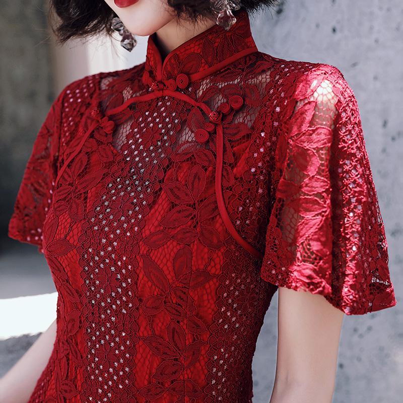 198.00元包邮改良版红色现代旗袍秋冬款晚礼服