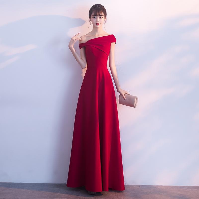 一字肩敬酒服新娘2021新款酒红色结婚晚礼服裙平时可穿女气质显瘦