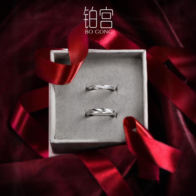 纯银情侣戒指镶施华洛世奇锆对戒男女结婚一对婚戒礼物纪念可调节图片