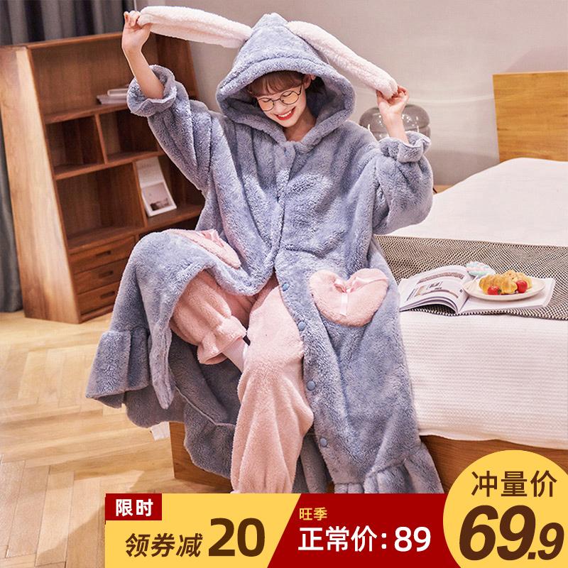 珊瑚绒睡衣女秋冬季可爱加绒加厚浴袍睡袍长款法兰绒家居服套装