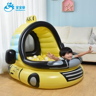 宝宝鱼网红出租车造型充气海洋球池家用 加厚儿童波波池泳池玩具