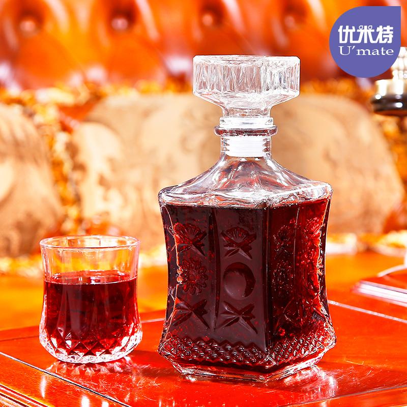 優米特加厚玻璃醒酒器套裝紅酒瓶 密封儲酒器 雕花葡萄酒瓶分酒器