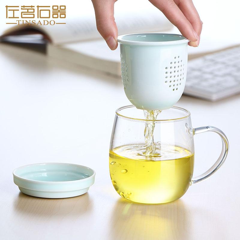 茶水分离办公室加厚陶瓷过滤玻璃杯满36元可用5元优惠券