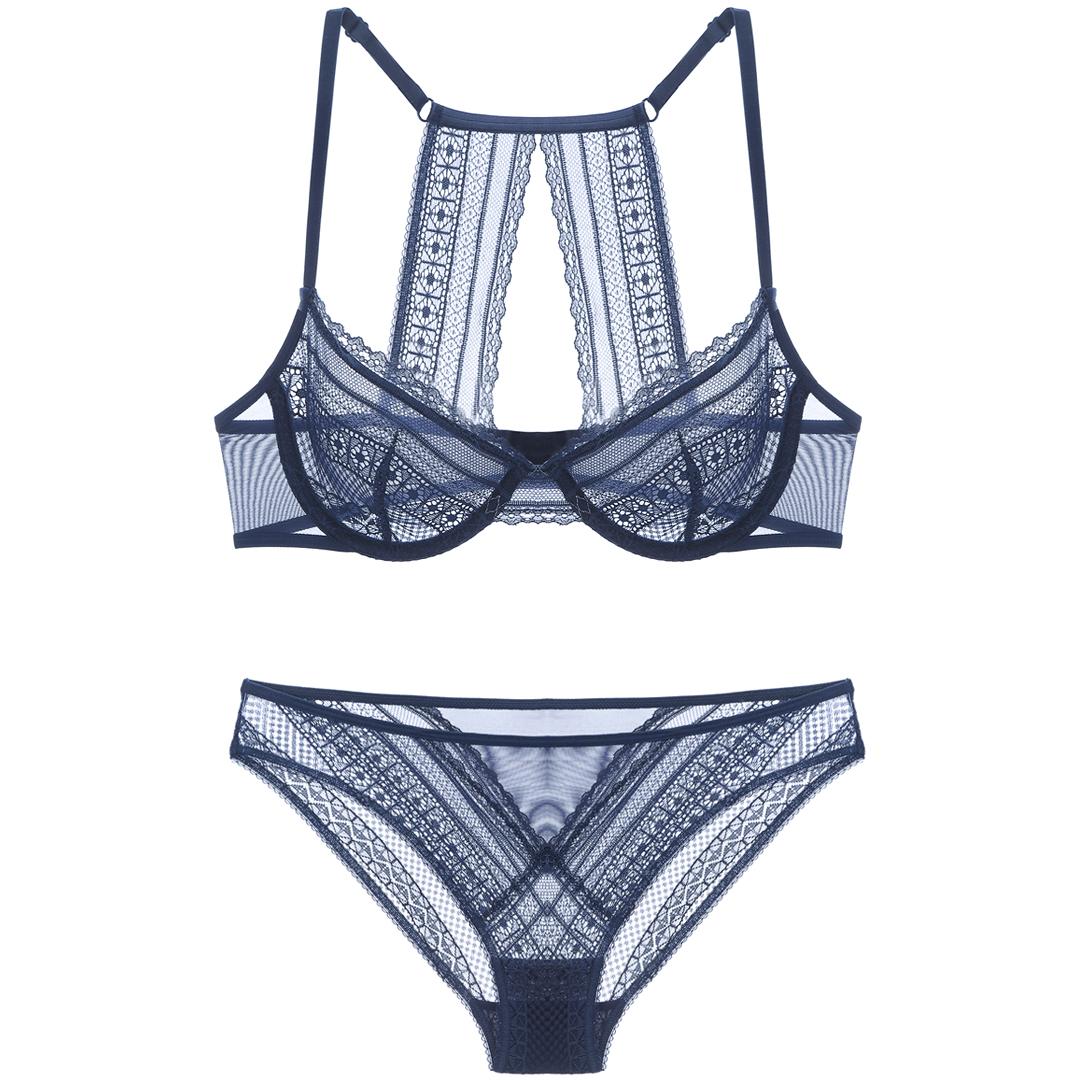 女人的秘密性感法式蕾丝前扣美背超薄款文胸套装透视内衣女夏胸罩