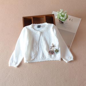 童装女童披肩长袖外套婴幼儿宝宝镂空针织衫空调衫春秋夏防晒坎肩
