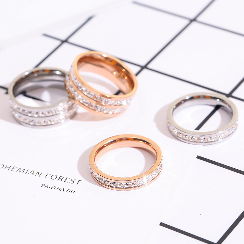 韩版个性指环镀玫瑰金磨砂戒指女钛钢排钻时尚尾戒食指戒简约百搭