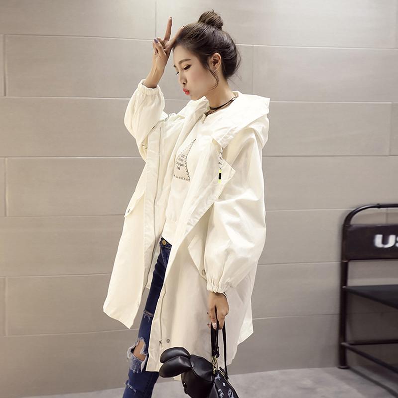 外套女春秋裝2017新款韓版bf原宿風學生寬鬆百搭中長款連帽風衣潮