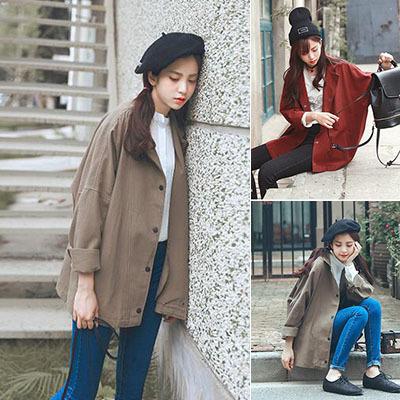 秋季棒球服韩版原宿bf学院风学生褂子长袖宽松中长款风衣外套女潮
