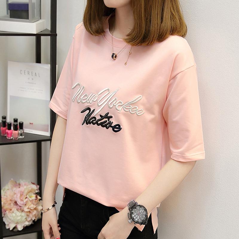 2018夏裝新款韓國短袖T恤女寬鬆中長款大碼女裝學生上衣打底衫