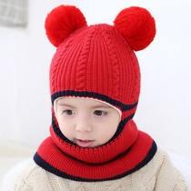 Girl Hat autumn winter 3-5 years old windproof face all-in-one wool 2 warm neck child male baby 6 childrens hat