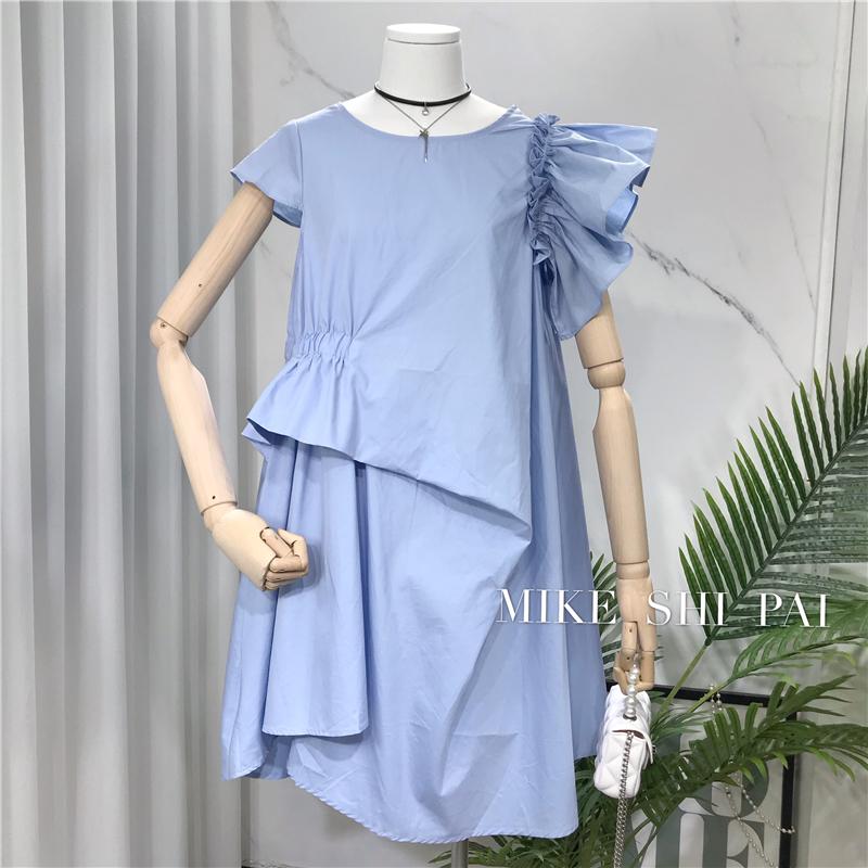 2020夏季新款韩版时尚糖果色洗水棉不规则连衣裙短袖百搭显瘦中裙