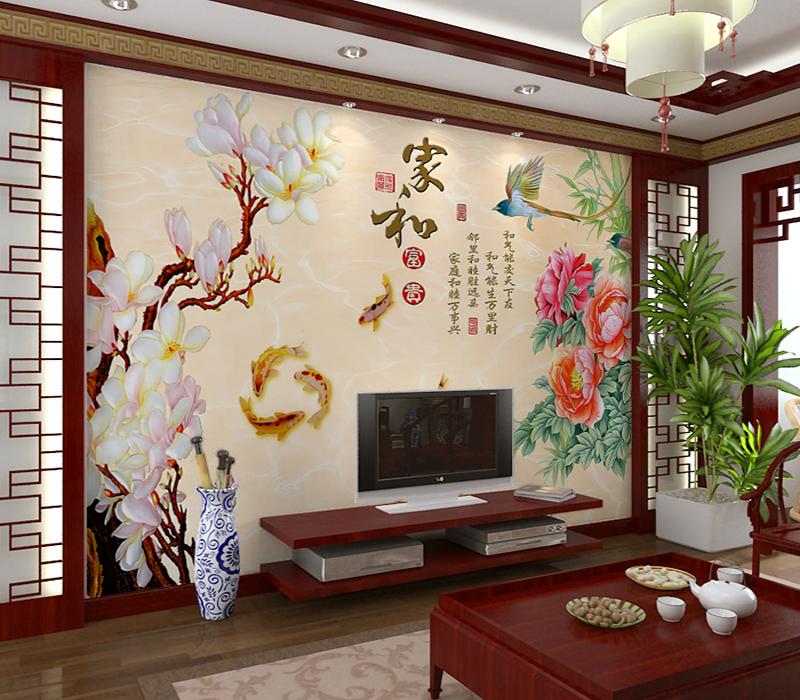 3D中式电视背景墙瓷砖家和墙砖客厅沙发背景瓷砖壁画微晶石瓷砖画
