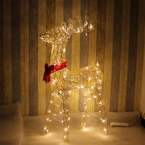 Christmas Deer Decorative ornaments 1.2 meters iron Christmas deer glowing with lights doll Christmas deer pull Decoration