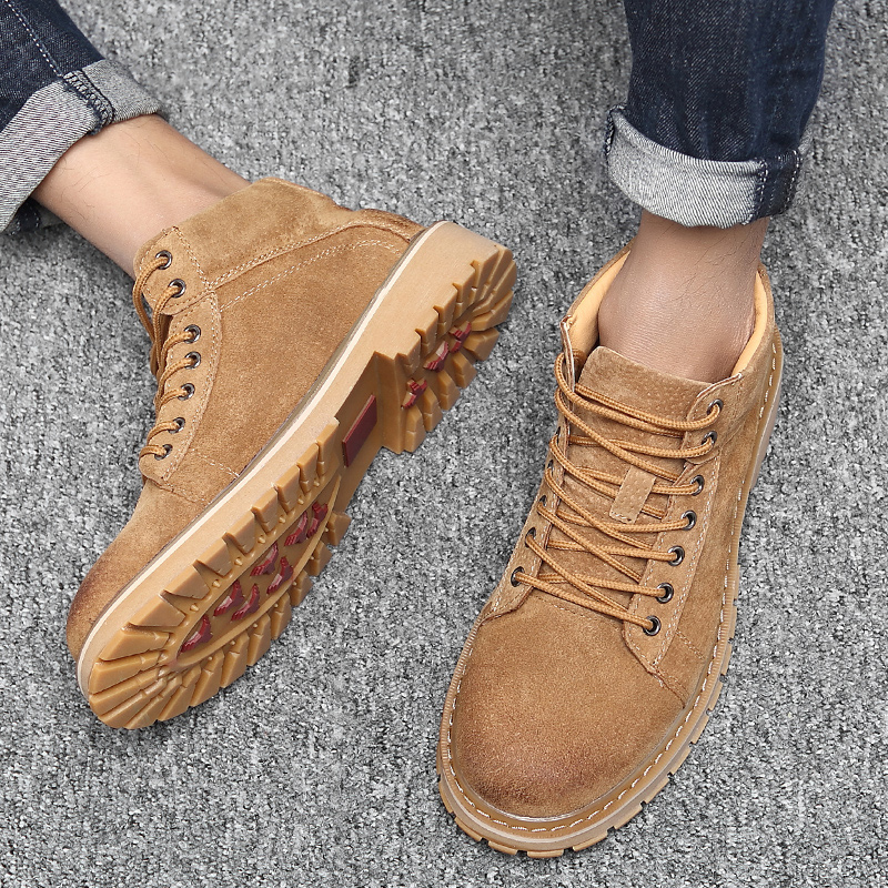 Winter Plush warm ox tendon soled large toe shoes British versatile work clothes shoes mens Martin boots frosted leather short boots