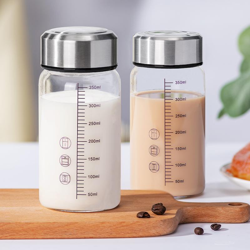 牛奶杯刻度玻璃水杯带盖便携夏天中药杯男女学生外带早餐豆浆杯子
