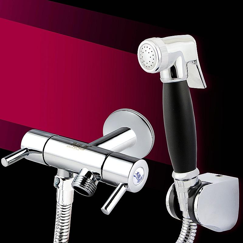 全銅增壓馬桶噴槍一進二出角閥淨身婦洗器噴頭花灑衝洗器水龍頭