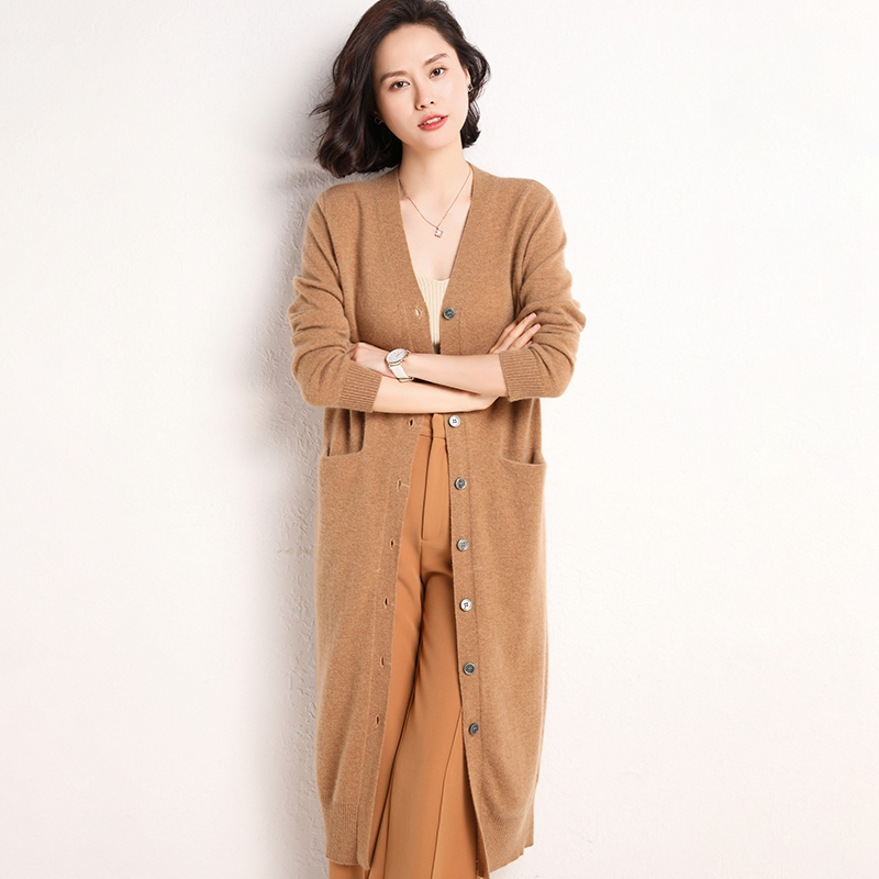 Cardigan sweater coat womens 2020 spring and autumn new medium and long sweater loose and thin Cashmere Knitted Top