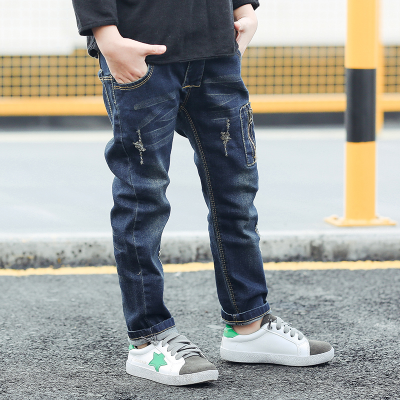 2020 childrens wear boys jeans new Zhongda childrens spring and autumn wear Korean boys trousers baby elastic Leggings