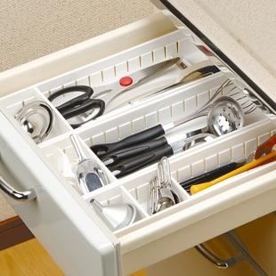 橱柜收纳盒简约日式厨房抽屉分隔自由组合放筷子勺子刀叉分格储物品牌
