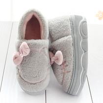 可爱包跟棉拖鞋女冬季松糕厚底增高跟保暖防滑毛毛鞋月子居家棉鞋