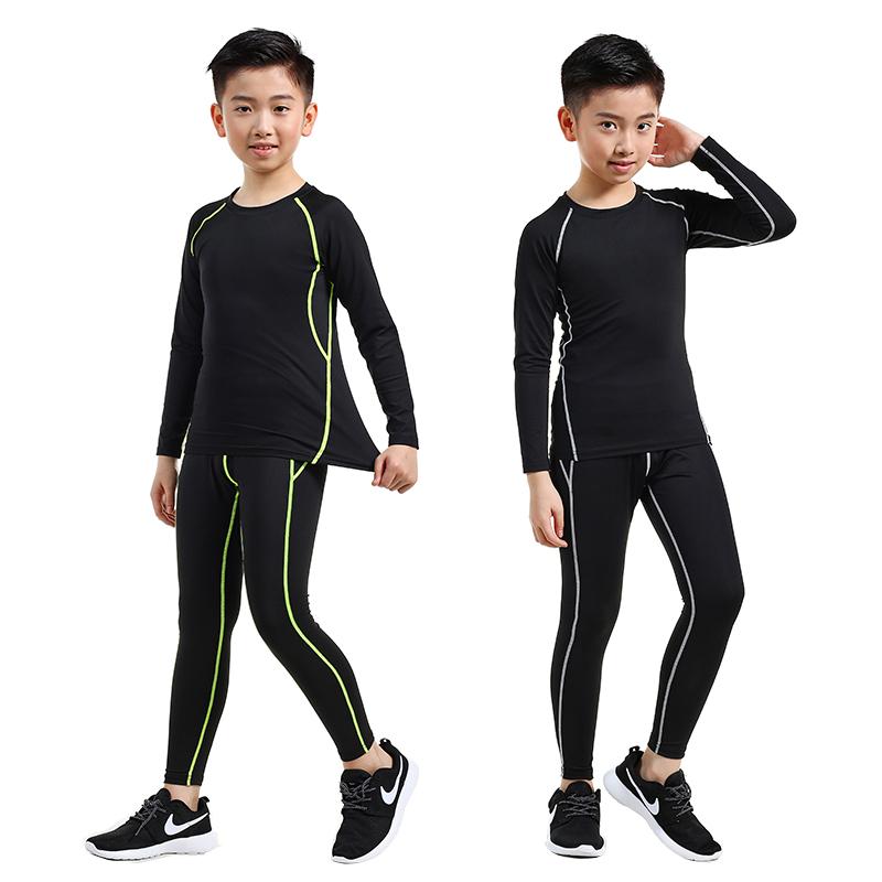 兒童緊身衣訓練服速干衣男跑步打底衫籃球足球運動健身服套裝男孩