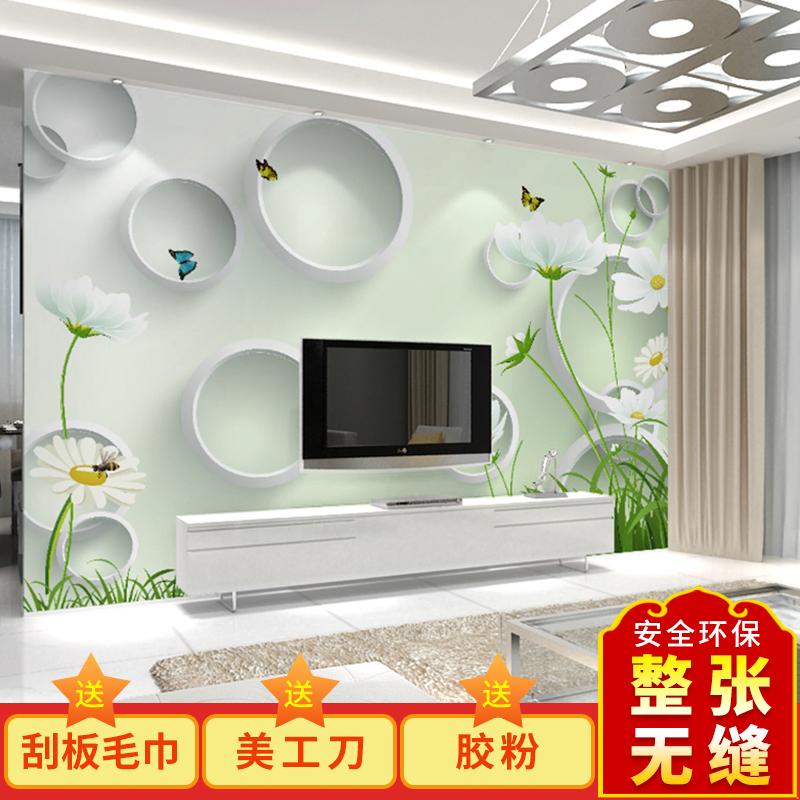 现代简约客厅电视背景墙壁纸3D立体影视墙壁画沙发墙纸墙布