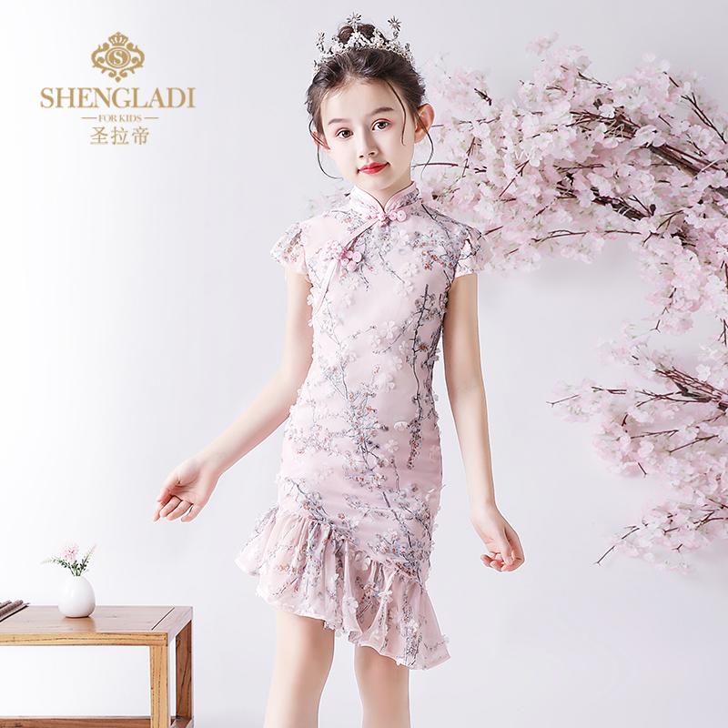 儿童秋季中国风走秀小女孩洋气旗袍(用160元券)