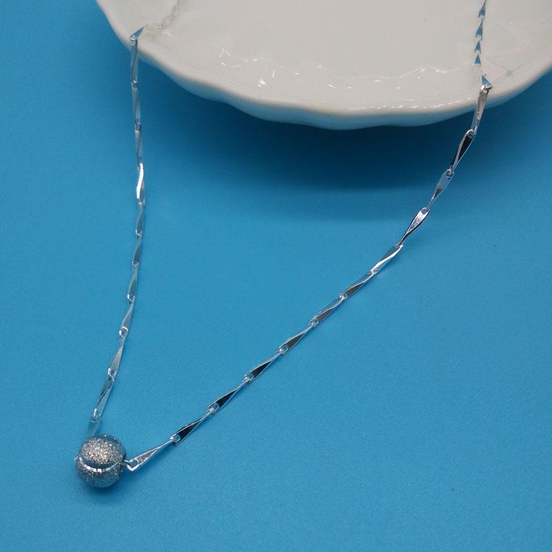 陈银匠99纯银项链女款韩版时尚女士转运珠吊坠瓜子锁骨链子首饰品