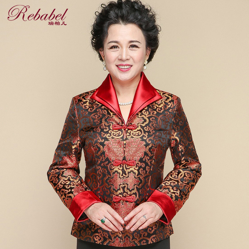 Middle-aged and elderly Chinese women's autumn coat suits, retro fashion Chinese women's clothes, mothers