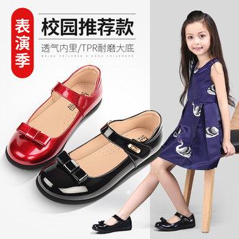 女童黑色2019春秋季新款小学生皮鞋