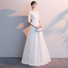 Party evening dress women 2019 new noble temperament white long birthday party dress can be worn at ordinary times