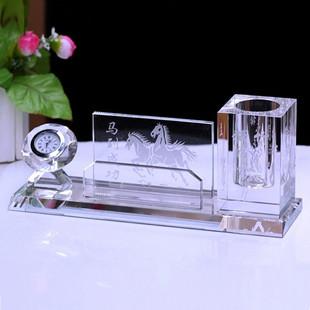水晶新款笔筒摆件定制实用办公商务礼品礼物企业LOGO公司周年刻字