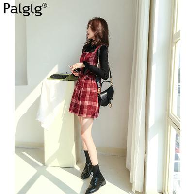 2019春季新款气质韩版女装裙子红色格子修身毛呢背带裙短裙连衣裙