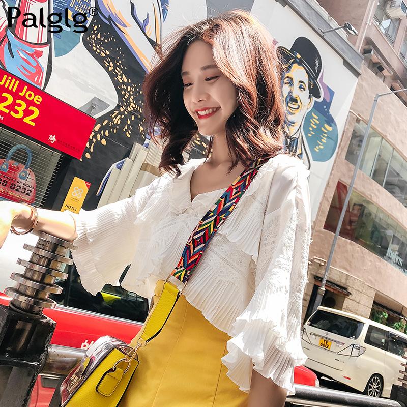 2018夏季新款女装雪纺上衣女超仙甜美宽松短袖白色气质v领蕾丝衫