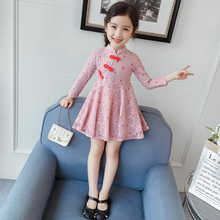 Girls'Spring Dresses 2009 New Summer Dresses Super Foreign Children's Skirts Princess Skirts Little Girls' Cheongsam Spring and Autumn