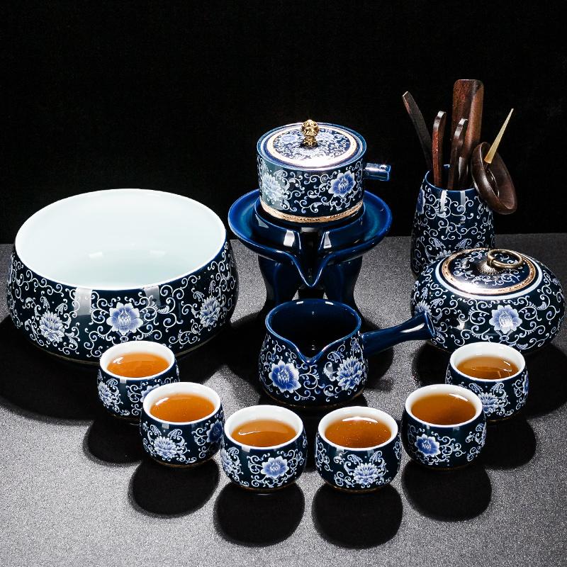琨德整套青花瓷自动功夫茶具套装家用懒人防烫石磨泡茶器陶瓷茶壶(用5元券)
