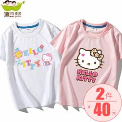 女童纯棉短袖t恤夏季卡通凯蒂猫hello kitty童装女公主2020新款潮
