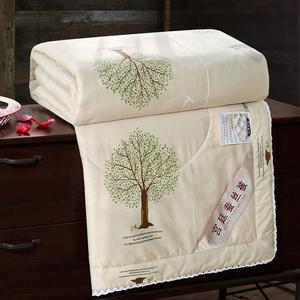 正品全棉桑蚕丝被夏凉被纯棉空调被单双人薄被子春秋被可水洗夏季
