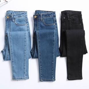 韩版学生高腰女长裤胖mm铅笔裤子