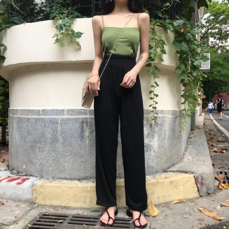 扑啦啦韩风Chic修身外穿绿色小吊带背心女夏高腰宽松休闲阔腿长裤