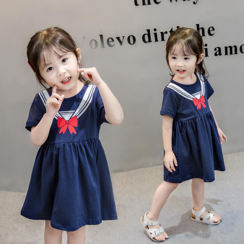 热销3件限时抢购女童夏装洋气连衣裙2019新款0-3岁婴儿宝宝公主裙5小童学院风裙子