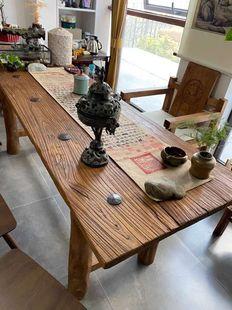 老榆木门板风化板旧木板老木头板定制餐桌吧台咖啡桌复古怀旧茶桌